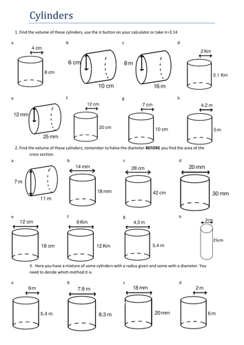 Maths powerpoint activity: Cylinders