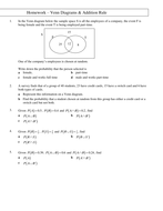 Homework on addition rule and venn diagrams