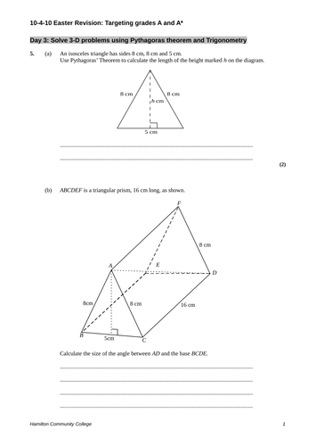 GCSE Maths: 3D Pythagoras worksheet by mrbuckton4maths - Teaching ...