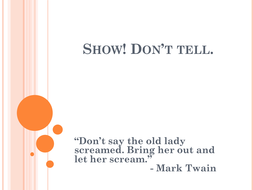 Show, Don't Tell Writing Lessons