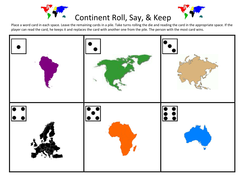 Continent Roll, Say, & Keep Gameboard.docx