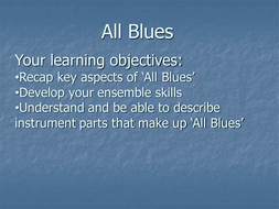 PowerPoint/lesson plan for 'All Blues'