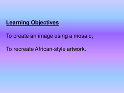 African clothing; mosaic designs
