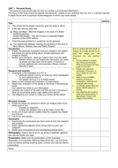 Writing Structure for Personal Study