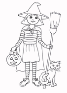 Halloween - Little Witch Coloring Page