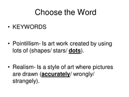 Pointallism & realism. Assessment