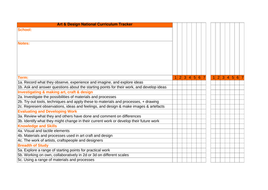 Art and Design tracker sheets