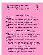 Assessment Criteria - Choreography *For Students*