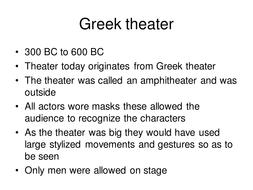 Greek; Theater across the ages