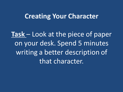 Descriptive writing character