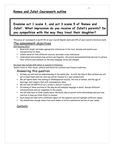 romeo and juliet coursework pack resources by jodirola romeo and juliet coursework pack resources by jodirola teaching resources tes