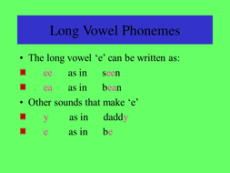 Words with Long Vowel Sounds
