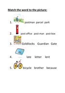 The jolly postman - match the picture to the word