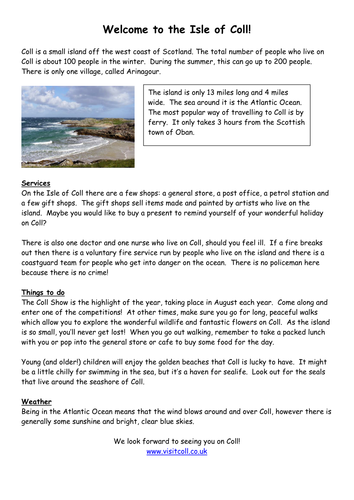 Isle of Coll info sheet