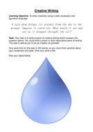 Desriptive writing:a rain drop falls to the ground