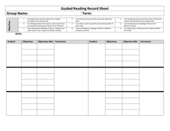 Guided Reading Record with Objectives
