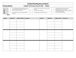 Guided reading Record Sheets with Objectives