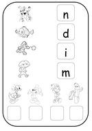 Phase 2 phonics worksheet i n m d
