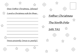 Dear Father Christmas letter writing frame (rhyming or not)