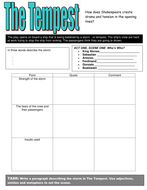 The Tempest Worksheet: Mixed ability