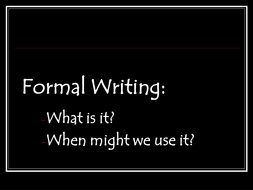 Formal writing lesson