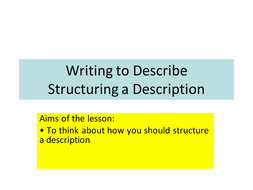 Descriptive writing -structuring  student response