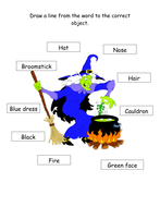Match the describing word to the Witch