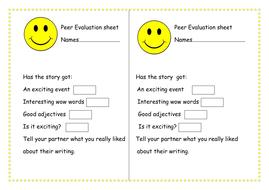 Peer Assessment Sheet - Story Writing