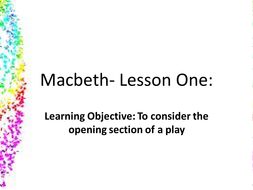 Macbeth- first lesson
