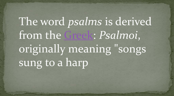 Definition and analysis of a psalm