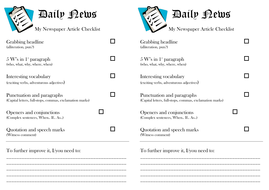 Newspaper Article Checklist