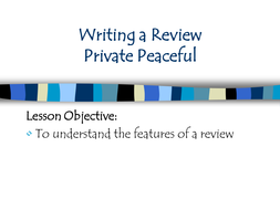 Private Peaceful- writing a book report