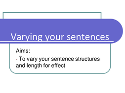 Descriptive writing- sentence structure