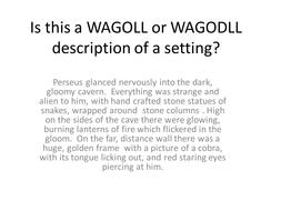 WAGOLL - What a good one looks like?