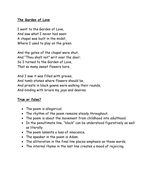 "True or False quiz on ""The Garden of Love"" - Blake"
