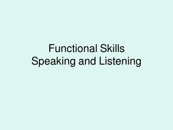 Functional skills- discussion S&L
