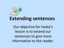 Extending sentences PowerPoint and handout