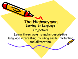 Highwayman powepoint on similes and devices