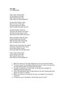 """The Tyger"" poem and questions."