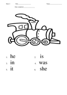 First 100 High Frequency Words practice sheets