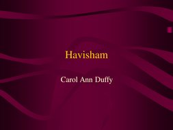 Havisham - Duffy Poem Analysis