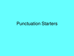 Punctuation and speech starters