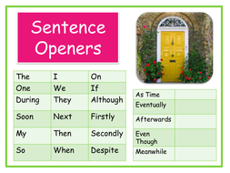 Sentence openers anchor chart