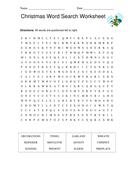 Christmas word search worksheet