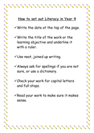 How to Set Out Literacy in Year 4.doc