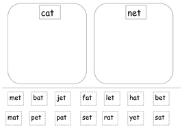 Differentiated - cut and stick the rhyming words
