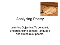 Analyzing Poetry
