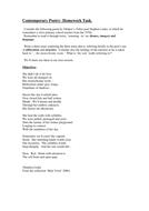 Contemporary Poetry Homework Task
