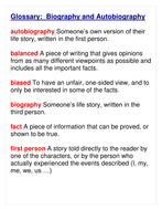 Glossary for Autobiography & Biography