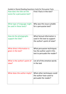 Persuasive text questioning cards